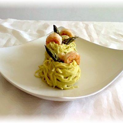 foto Tagliolini con asparagi e mazzancolle